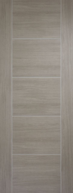 Vancouver Door: Flush V-Groove *Pre-Finished Light-Grey Veneer * 35mm Internal - LPD Colour Doors