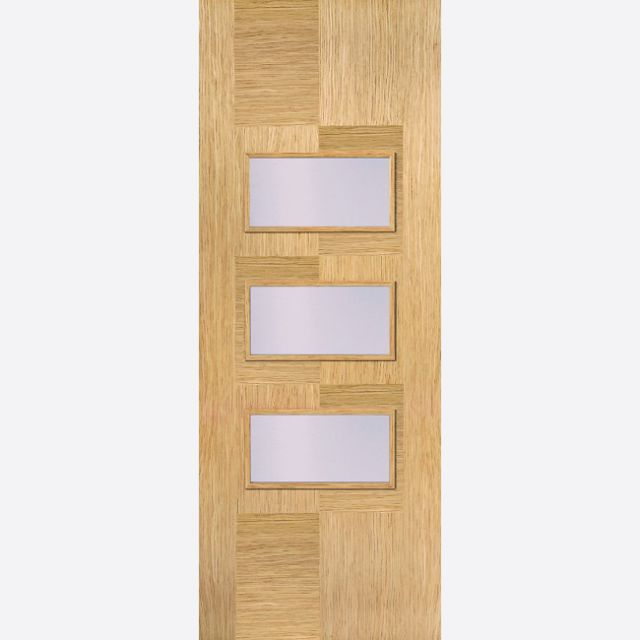APOLLO GLAZED DOOR: 3-light *Clear Glazed* *Pre-Finished OAK* 35mm Internal Door - LPD Door
