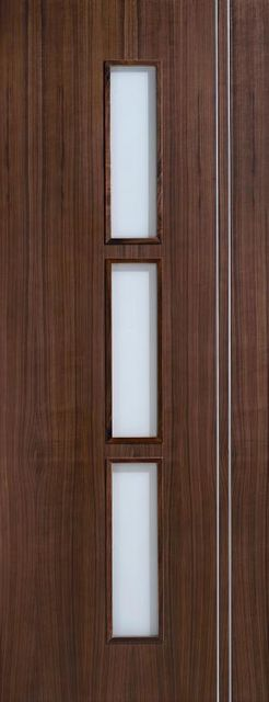 SIERRA Glazed DOOR: 3-light *Frosted Glass* Flush *Pre-Finished WALNUT* 35mm Internal Door - LPD Doors