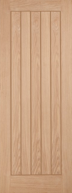 Belize T&G Oak Door: Grooved T.and.G-effect *Unfinished Oak* 35mm Internal - LPD Modern Oak Doors