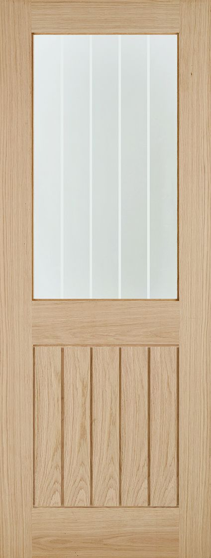 Belize Glazed Oak Door: 1-Light Vertical Striped Glass - Grooved T&G-effect *Unfinished Oak* 35mm - LPD Modern Oak Doors™