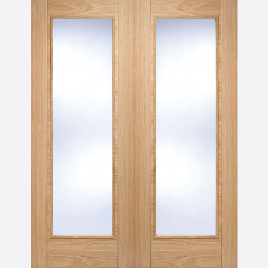 Vancouver Pattern 10 Pair Doors: 2-light *Clear Glazed* *Pre-Finished Oak* 40mm Internal Pair - LPD Modern Oak Pair Doors