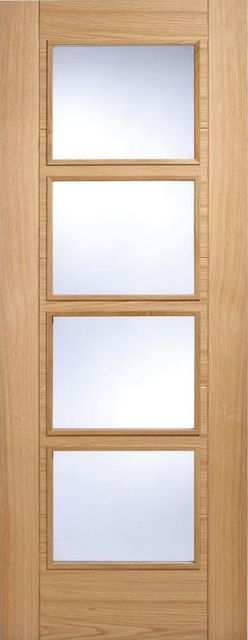 Vancouver 4L Door: 4-light *Clear Glazed* *Pre-Finished Oak* 35mm Internal - LPD Modern Oak Doors