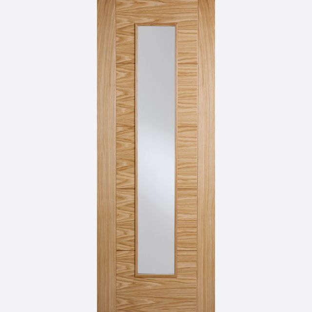Vancouver Long Light Glazed Fire Door: FD30 1-light *Clear Glazed* *Pre-Finished Oak* 44mm Internal Firecheck - LPD Modern Oak Fire Doors