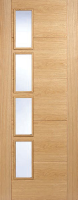 Vancouver Glazed Door: 4-light Offset *Clear Glazed* *Pre-Finished Oak* 35mm Internal Door - LPD Modern Oak Doors