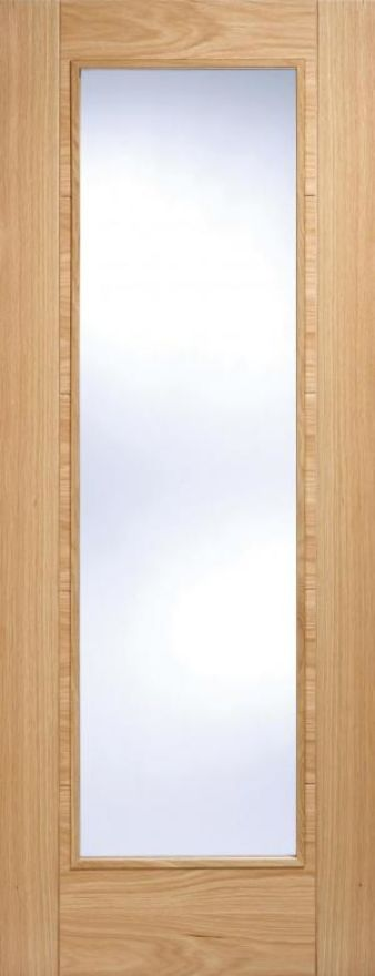 Vancouver Pattern 10 Door: 1-light *Clear Glazed* *Pre-Finished Oak* 35mm Internal - LPD Modern Oak Doors