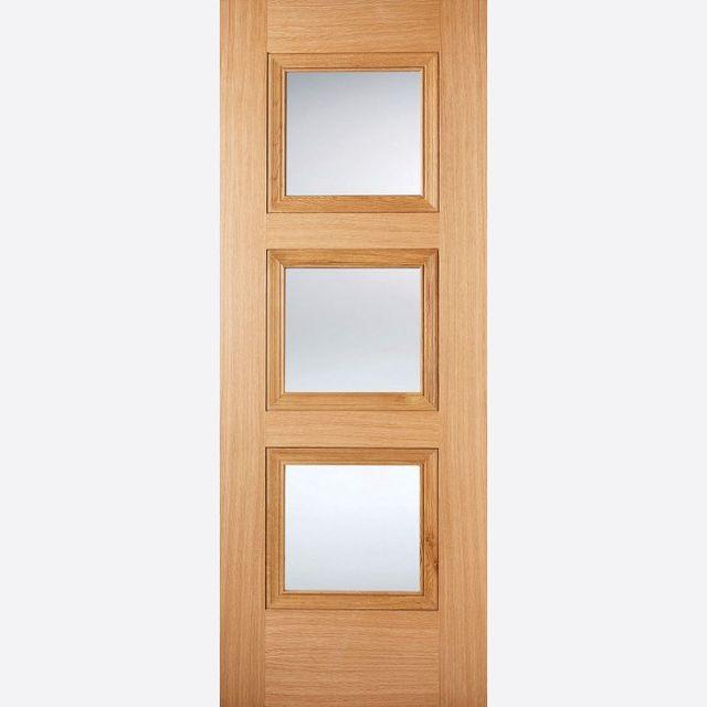 Amsterdam Glazed PF Oak Door 3-light *Clear Glazed* *Pre- & LPD Premium Oak Internal Doors   JAS Timber