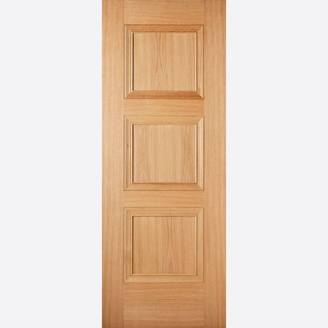 Amsterdam PF Oak Fire Door: FD30 3-Panel *Pre-Finished Oak* 44mm Internal Firecheck - LPD Premium Oak Fire Doors