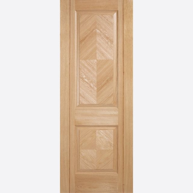 Madrid PF Oak Fire Door: FD30 2-Panel *Pre-Finished Oak* 44mm Internal Firecheck - LPD Premium Oak Fire Doors