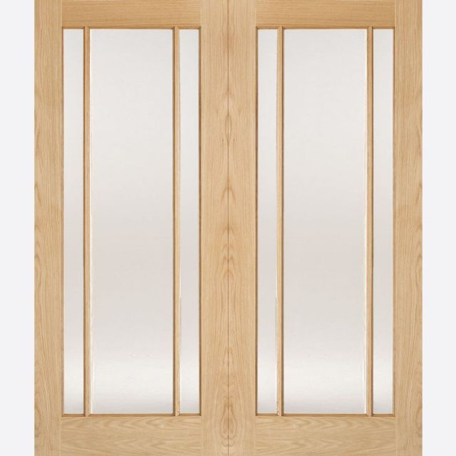 Lincoln Pair Door: 6-light *Clear Glazed* *Unfinished Oak* 40mm Internal Pair Door - LPD Traditional Oak Pair Doors