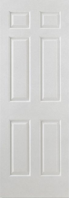 Smooth 6P Door: 6-Panel Square Top White Woodgrain 35mm Internal Door - LPD Essentials Doors