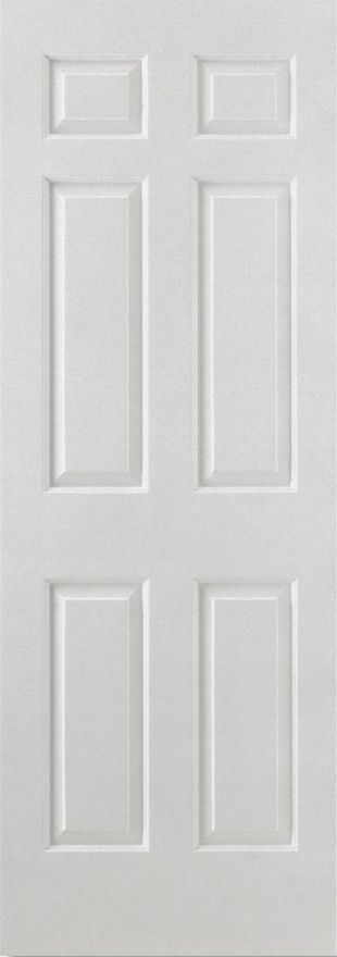 Smooth 6-Panel Square Top White Moulded Internal Door
