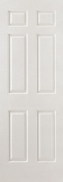 Textured 6P Fire Door: FD30 6-Panel White Woodgrain 44mm Internal Firecheck - LPD Essentials Fire Doors