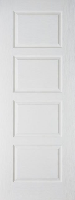 Textured Contemporary Door: 4-Panel White Woodgrain 35mm Internal Door - LPD Essentials Doors