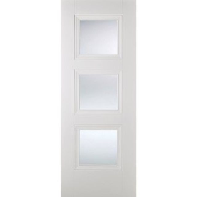 Amsterdam Glazed Door: 3-light *Clear Glazed* *White Primed* 35mm Internal Door - LPD White Doors