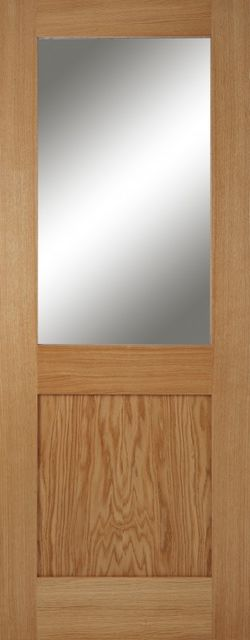 Marlborough 1L Glazed Oak Door: 1-light *Clear Glazed* *Unfinished Oak* 35mm Internal - Mendes Shaker Doors