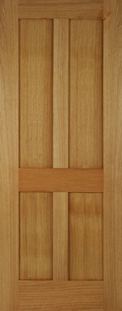 BRISTOL FIRE DOOR: FD30 Flat 4-Panel *Unfinished OAK* 44mm Internal Fire Door - Mendes Doors