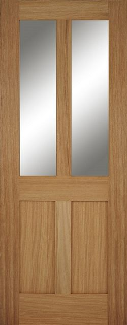 BRISTOL GLAZED FIRE DOOR: FD30 2-light *Clear Glazed* *Unfinished OAK* 44mm Internal Fire Door - Mendes Doors