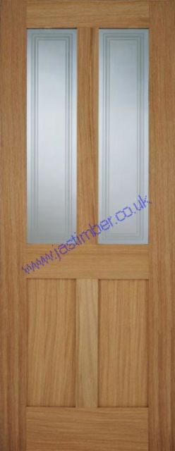 Bristol 2L Glazed Oak Door: 2-Light *Clear Glazed* *Unfinished OAK* 35mm Internal - Mendes Shaker Doors