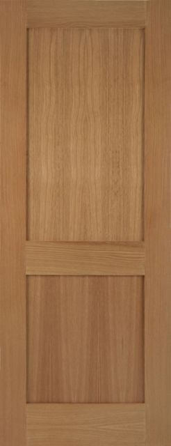 Marlborough Oak Door: Flat 2-Panel *Unfinished Oak* 35mm Internal Door - Mendes Shaker Doors