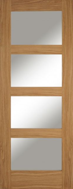 Contemporary 4L Glazed Door: 4-light *Clear Glazed* *Unfinished Oak* 35mm Internal - Mendes Shaker Doors