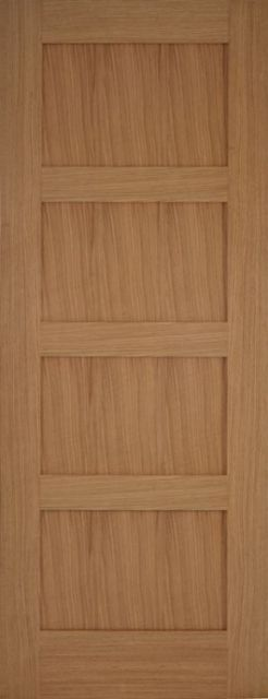 Contemporary Oak 4P Door: Flat 4-Panel *Unfinished Oak* 35mm Internal - Mendes Shaker Doors