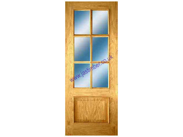 IRIS Glazed DOOR: 6-light *Glazed* *OAK* +RM+ 35mm Internal Door - PMM