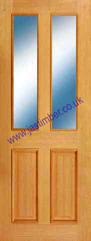 Oxford 2-Light Glazed Oak Door - Mendes