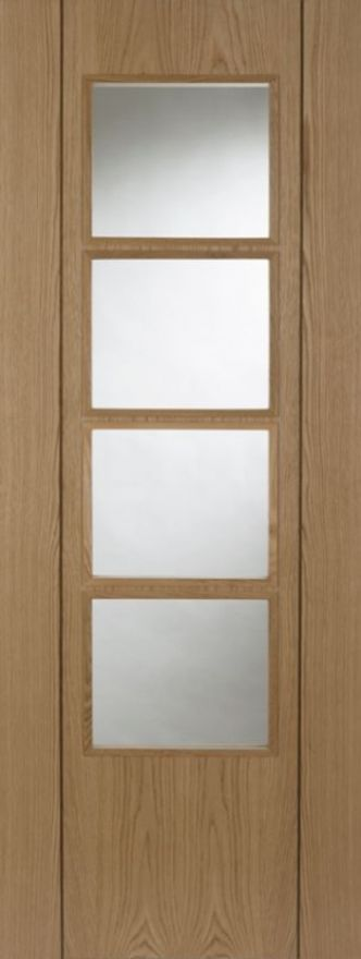 Oak Vision 4 Light Glazed Fire Door: FD30 4-light Glazed *Oak* +RM+ 44mm Internal Firecheck - PMM