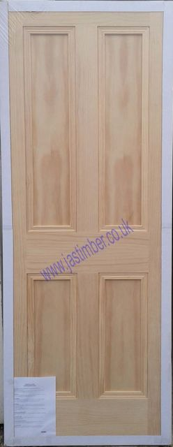 Islington Fire Door: FD30 4-Panel Clear Pine 44mm Internal Firecheck - Mendes Doors