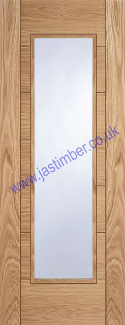 CORSICA Glazed Oak Door - Semi-solid Core central 1-Light Clear Flat Glass V-groove Pre-Finished 35mm - Mendes Doors