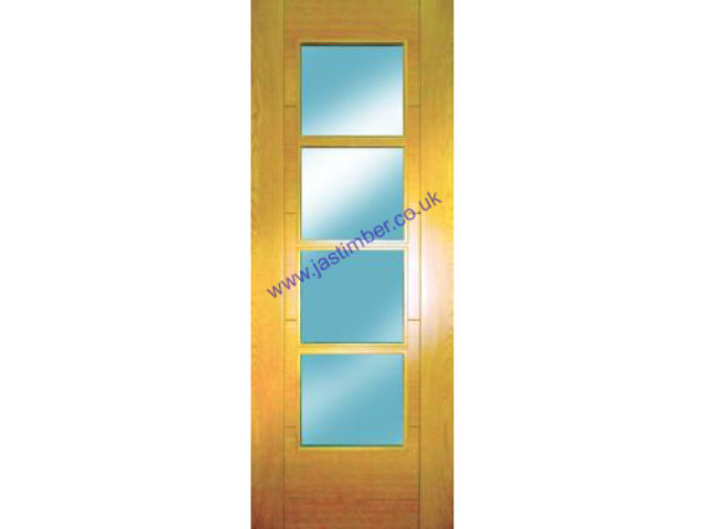 ISEO Glazed Oak Door - Semi-solid Core central 4-Light Clear Bevelled Glass V-groove Pre-Finished 35mm - Mendes Doors