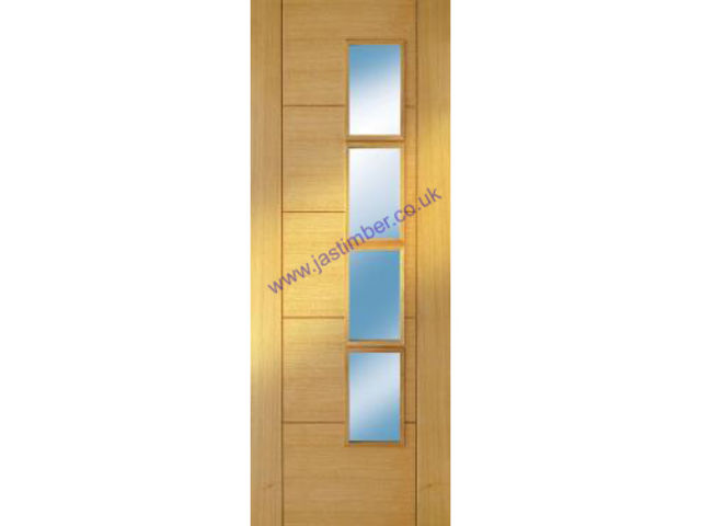 ISEO offset Glazed Deluxe Oak Fire Door - Pre-Finished FD30 (Half Hour) central 4-Light Clear Glass 44mm - Mendes Doors