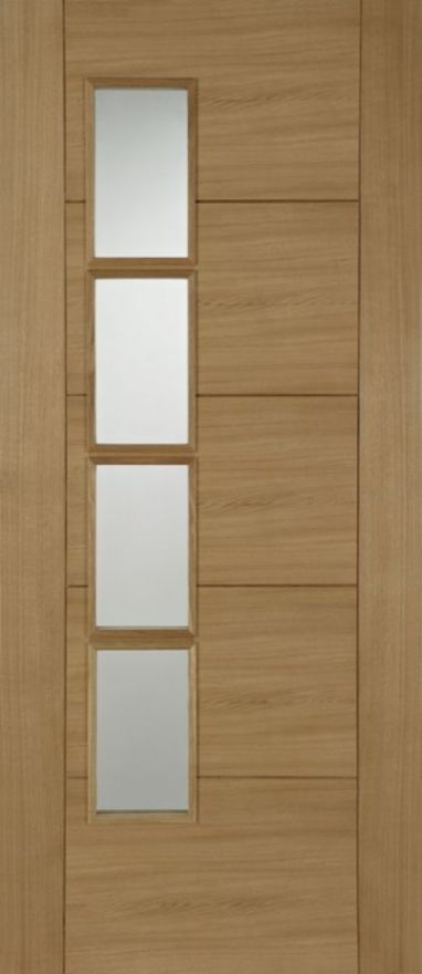 Iseo Offset Glazed Oak Door