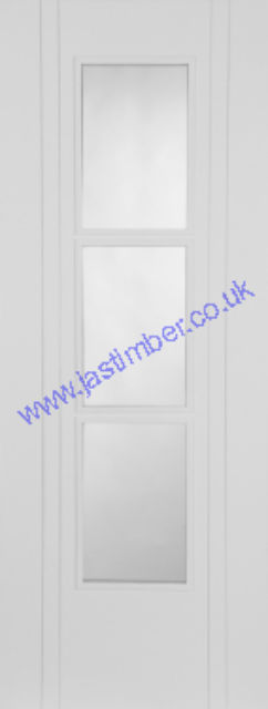 White CAPRI 3 Light Glazed Door - V-groove Flush Semi-solid 35mm Pre-Finished - Mendes Doors