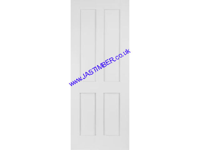 SHAKER DOOR: 4-Panel White Primed Solid 35mm Internal Door - Mendes Doors