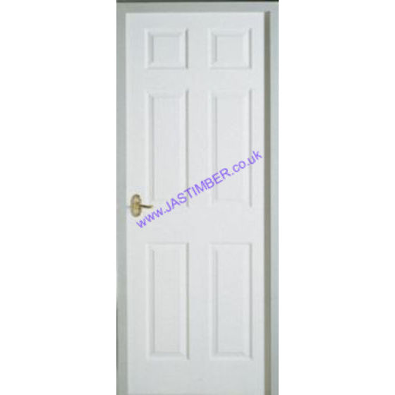 Colonist Fire Door: FD30 6-Panel Smooth White Moulded Panel 44mm - Premdor