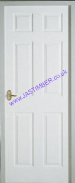 Colonist FD30 6P White-Primed Smooth Fire Door: Fireshield Moulded 6-Panel 44mm Internal 30 minute Firecheck - Premdor Fire Doors