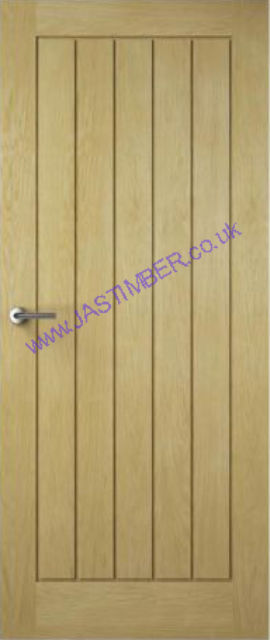 Croft Oak Fire Door - 44mm Fireshield with T&G-effect Oak-veneer Recessed-Panel Internal FD30 Firecheck - Premdor Fire Doors®