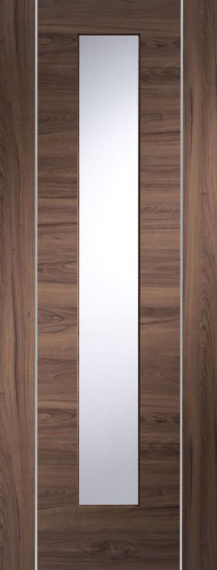 Forli Glazed Door: 1-light *Clear Glazed* [Pre-Finished Walnut] 35mm Internal Door - XL Doors
