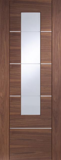 Portici Glazed Door: 1-light *Clear Glazed* [Pre-Finished Walnut] 35mm Internal Door - XL Doors