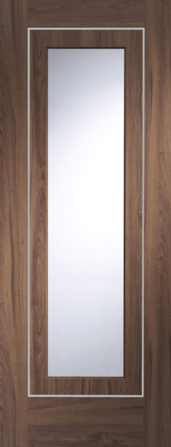 Varese Glazed Door: 1-light *Clear Glazed* [Pre-Finished Walnut] 35mm Internal Door - XL Doors