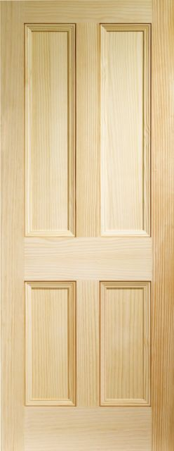 EDWARDIAN DOOR: Flat 4-Panel Clear Pine 35mm Internal Door - XL Doors