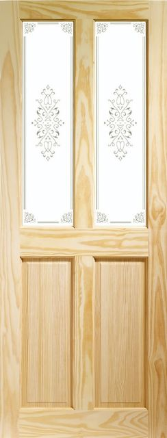 VICTORIAN Glazed DOOR: 2-light *Campion Glass* Clear Pine 35mm Internal Door - XL Doors