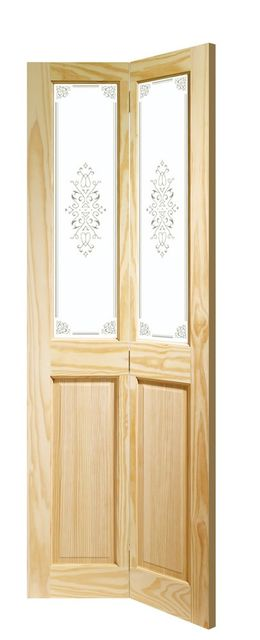 Victorian Bi-Fold Door: 2-light *Campion Glass* Clear Pine 35mm Bi-Folding Door - XL Doors