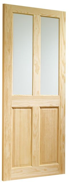 VICTORIAN Glazed DOOR: 2-light *Clear Glass* Clear Pine 35mm Internal Door - XL Doors