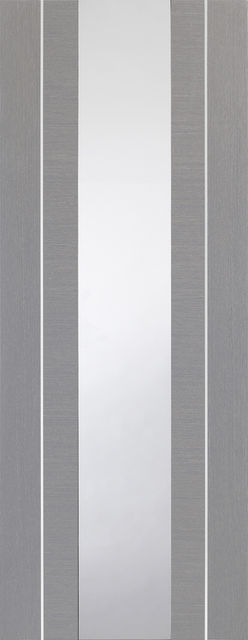 Forli Glazed Door: 1-light *Clear Glazed* *Pre-Finished Light Grey* 35mm Internal Door - XL Doors