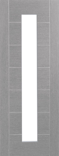Palermo Glazed Door: 1-light *Clear Glazed* *Pre-Finished Light Grey* 35mm Internal Door - XL Doors