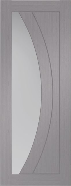 Salerno Glazed Door: 1-light *Clear Glazed* *Pre-Finished Light Grey* 35mm Internal Door - XL Doors