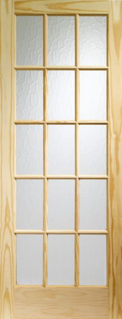 SA77 Glazed DOOR: 15-light *Flemish Glass* Knotty Pine 35mm Internal Door - XL Doors